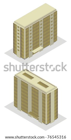 isometric projection of a high building, isolated on white