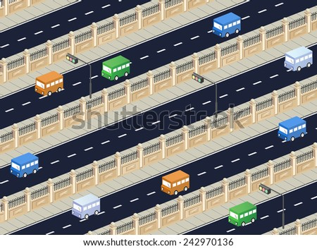 Isometric  road with transport - stock photo