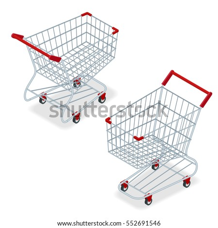 Isometric Shopping supermarket cart Isolated On White background. Concept of discount. Flat illustration. For infographics and design