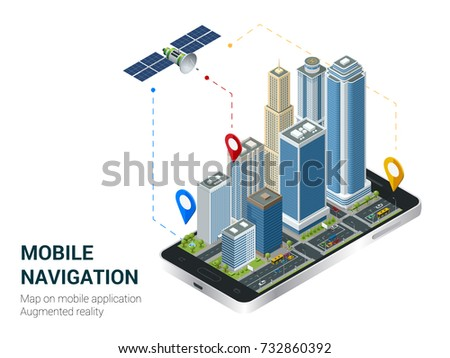 Isometric Smart City or Mobile navigation concept. Mobile gps navigation and tracking concept. Smartphone with city map path and location mark on the screen