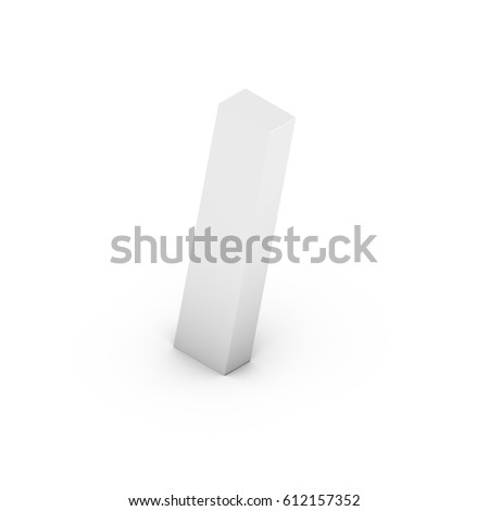 Isometric special character slash. 3D rendering of white font with shadow isolated on white background.
