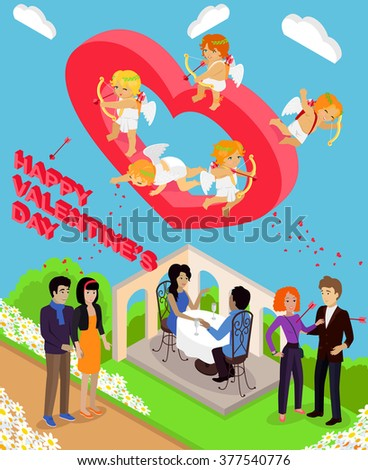 Isometric Valentines day. Isometric family couples love hearts 3d. Little cupids 3d icons. Flirting, wedding and parenting, love, first date. Family together concept. Valentine day people couple - stock photo