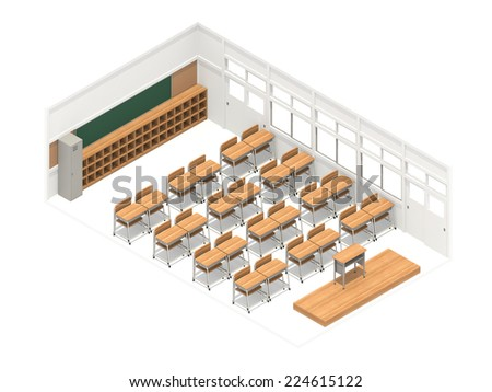 Isometric view of a classroom viewed from the front - stock photo