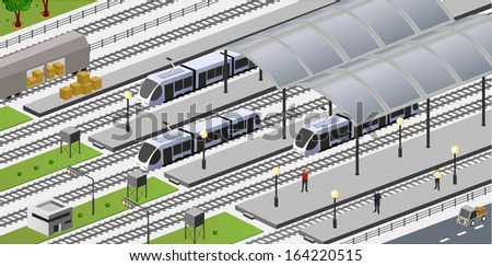 isometric view of the city station
