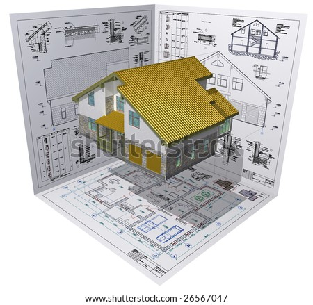Isometric view the residential house on architect's drawing. - stock photo