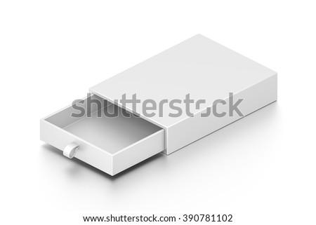 Isometric white drawer blank box isolated on white background. - stock photo