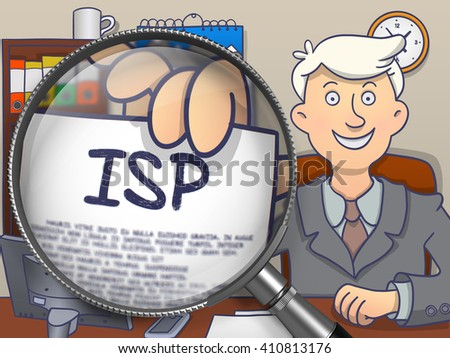ISP - Internet Service Provider - Handsome Officeman Welcomes in Office and Holds Out a Paper with Offer through Magnifier. Multicolor Doodle Style Illustration. - stock photo