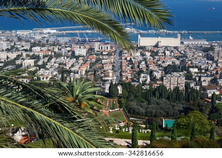 Israel. Bahai gardens and temple on the slopes of the Carmel Mountain and view of the Mediterranean Sea and bay of Haifa city.  - stock photo