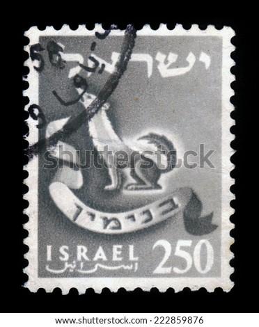 ISRAEL - CIRCA 1955: A stamp printed in Israel honoring twelve tribes of Israel shows Benjamin , series emblems of the twelve tribes of Israel, circa 1955 - stock photo