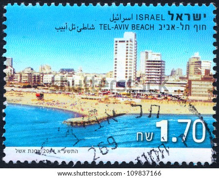 """ISRAEL - CIRCA 2011: An old used Israeli postage stamp of the series """"Beaches in Israel"""", showing Beach of Tel-Aviv with inscription """"Tel-Aviv Beach""""; series, circa 2011 - stock photo"""