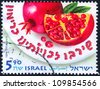 "ISRAEL - CIRCA 2011: An old used Israeli postage stamp of the series ""Fruits of Israel"", with inscription ""Pomegranate""; series, circa 2011 - stock photo"