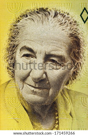 ISRAEL - CIRCA 1992: Golda Meir (1898-1978) on 10 New Sheqalim 1992 Banknote from Israel. 4th Prime Minister of Israel. - stock photo