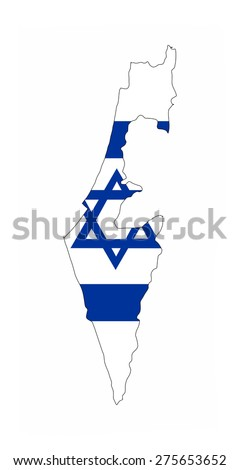 israel country flag map shape national symbol - stock photo
