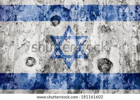 Israel flag on a weathered grunge background - stock photo