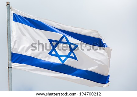 Israel flag waving on the wind - stock photo
