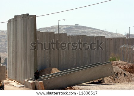 Israel has been in Palestine now for 60 years. The construction of the East west wall... - stock photo