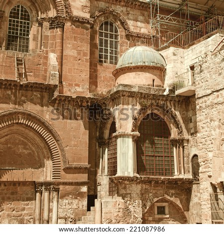 Israel. Jerusalem. Church of the Holy Sepulchre in retro style