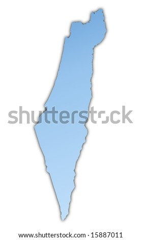 Israel map light blue map with shadow. High resolution. Mercator projection. - stock photo