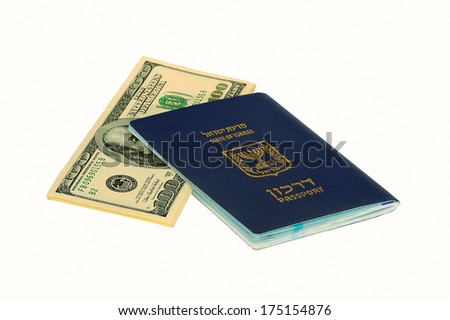 Israel Passport with Dollar Bills  - stock photo