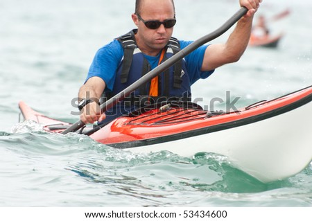 ISRAEL, TEL-AVIV-JAFFA, MAY 5: Participant in the Open Israel championship of sea kayaking. on may 5, 2010 in Tel-Aviv - Jaffa - stock photo