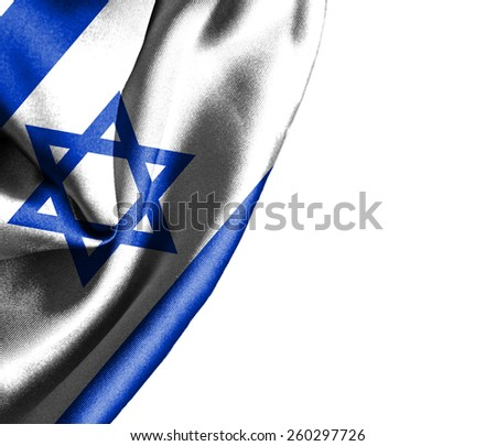 Israel waving silky flag isolated on white background - stock photo
