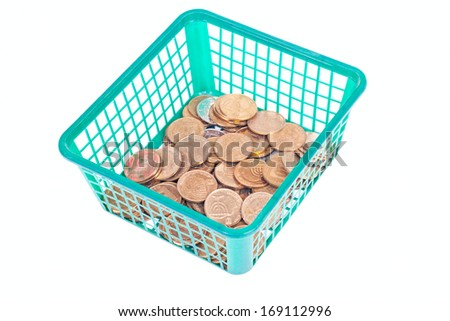 Israeli coins in green box isolated on white background - stock photo