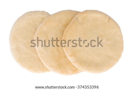 Israeli flat bread pita isolated on white background - stock photo