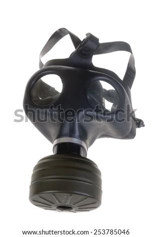Israeli Gas Mask isolated on white - stock photo