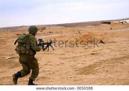 israeli soldiers attack - battle field - military exercise - stock photo
