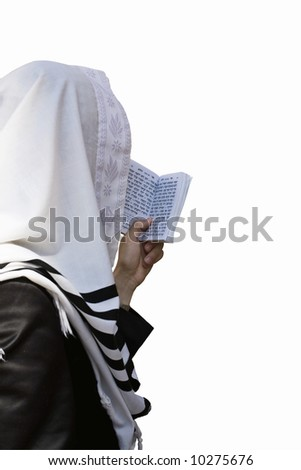 Israelite, who reads torah in western wall in Jerusalem(isolated). - stock photo