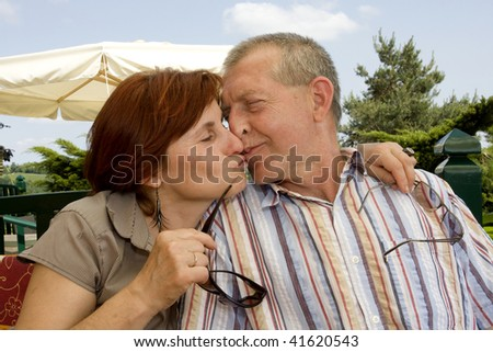 issing couple - stock photo