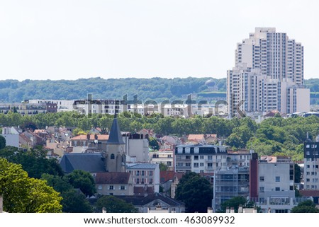 Issy-les-Moulineaux and Malakoff rooftops on a summer sunny day