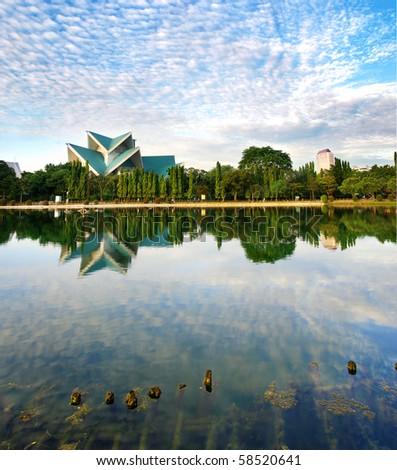 Istana Budaya Lake Reflection - stock photo
