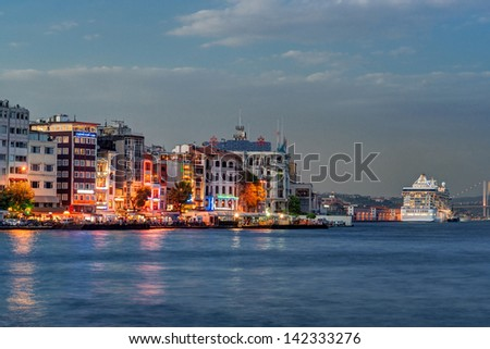 Istanbul and Bosphorus at night, Turkey