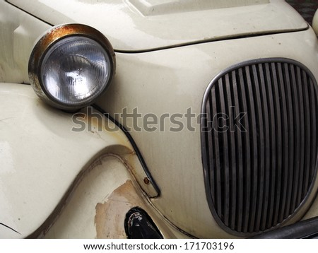 ISTANBUL - April 21, 2013: close-up of a classic vintage car  - stock photo