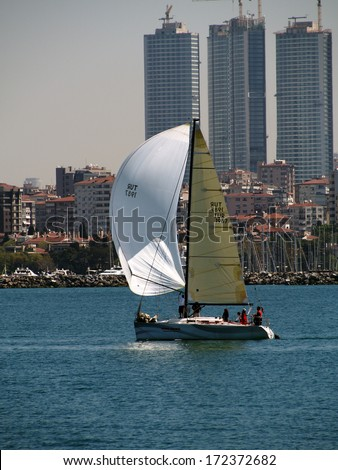 ISTANBUL - APRIL 23, 2013: sailing yacht in the Sea of Marmara in the Asian part of Istanbull