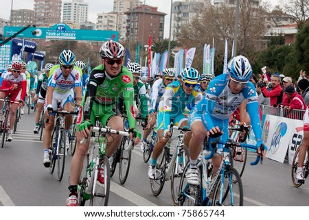 ISTANBUL - APRIL 24 : Teams are racing at 47 th International  Presidential Cycling Tour  April  24, 2011 in Istanbul , Turkey
