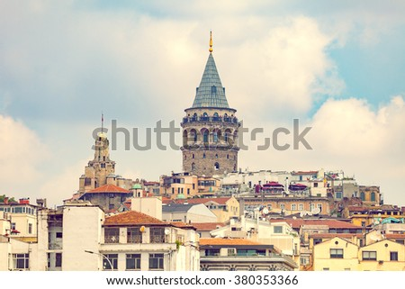 Istanbul at sunset over Galata district, Turkey - stock photo