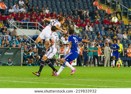 ISTANBUL - AUGUST 08, 2014: Chelsea is attacking to Besiktas in Soma Charity Tournament in Sukru Saracoglu Stadium.