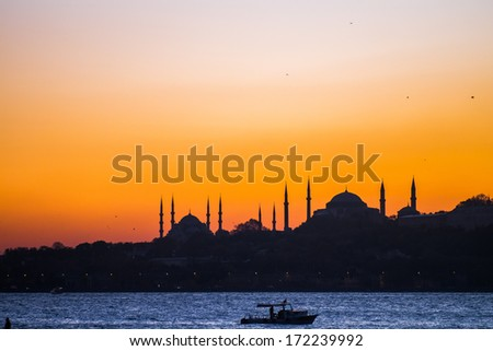 Istanbul beautiful silhouette at sunset on the bosphorus - stock photo