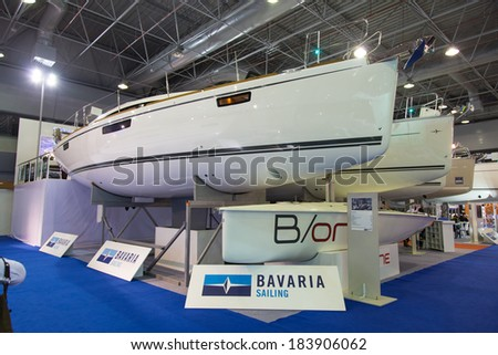 ISTANBUL - FEBRUARY 22: Bavaria Sailboats in CNR Avrasya Boat Show on February 22, 2014 in Istanbul, Turkey.