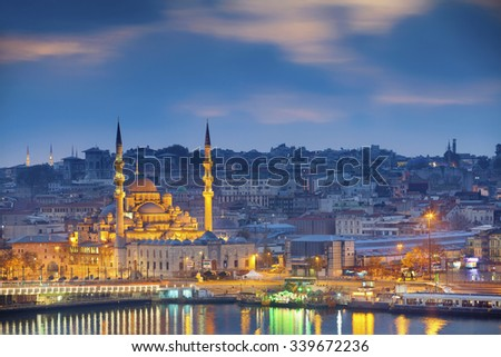 Istanbul. Image of Istanbul with Yeni Cami Mosque during sunrise. - stock photo