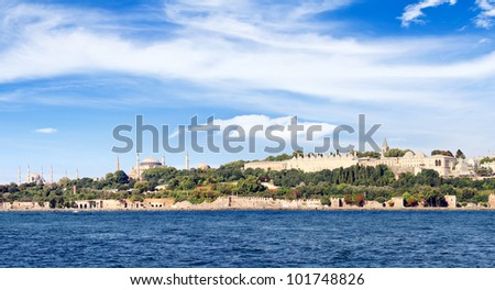 Istanbul in panoramic view. Left to right Blue Mosque, Hagia Sophia and Topkapi Palace seen from above - stock photo