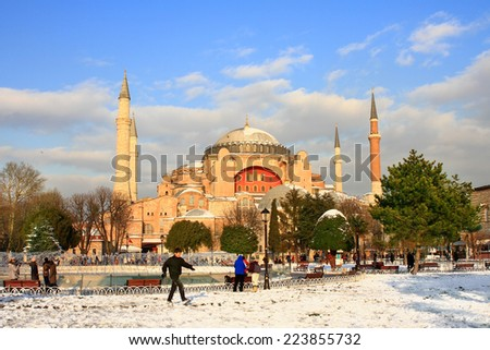 ISTANBUL - JAN 9, 2013: Hagia Sophia in Winter. St Sophia was the largest cathedral of the world for 1000 years as of its construction. - stock photo