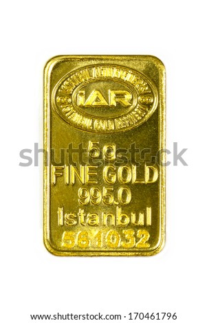 ISTANBUL - JANUARY 01, 2014: Photo of Istanbul Gold Refinery Inc. 5 g gold bar on white background. IAR, istanbul ALTIN rafinerisi is one of top refineries in list of London Bullion Market Association - stock photo
