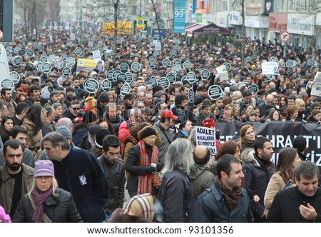 ISTANBUL - JANUARY 19: Thousands mark Hrant Dink's death 5 years on. More than 10,000 protesters walked to Agos newspaper, on 19 January 2012 in Istanbul,Turkey.