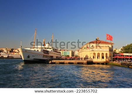 ISTANBUL - JUL 8, 2013: Kadikoy passenger ferryboat port building. Istanbul Sea Lines provide a welcome break from the bustle in city - stock photo