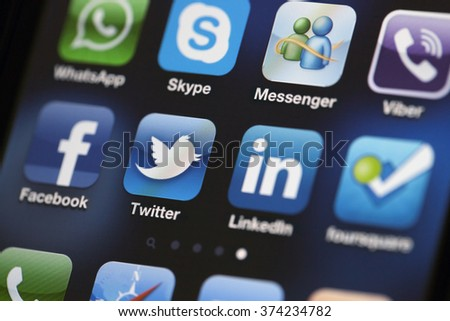 ISTANBUL - JULY 06, 2012: Apple Iphone 4S screen with social media applications of Facebook, Twitter, Skype, Linkedin, Whatsapp, Viber, foursquare and Messenger. - stock photo