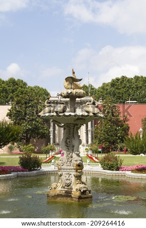 ISTANBUL - JULY 4: Fountain in the park of the Dolmabahce Palace on July 4, 2014 in Istanbul.