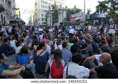 ISTANBUL - JULY 12: Journalists gathered at Galatasaray Square to protest the  violence, pressure  they have faced since the Gezi Park protests began in late May,on July 12,2013,in Istanbul,Turkey.